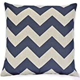 "Vintage Linen Cotton Chevron Zig Zag Pattern Home Decorative Throw Pillow Case Cushion Cover Multiple Colors (18""x18""(45x45cm), Navy Blue)"