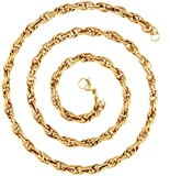 """The jewelbox 22k Gold Plated Italian Multi Links 24"""" Chain for Men"""