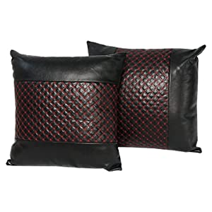 2 Pcs Car Beat Back Cushion Red Black Faux Leather Cover Throw Pillow 14