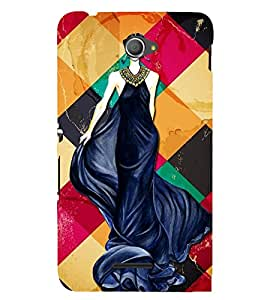 GIRL IN A DARK BLUE GOWN 3D Hard Polycarbonate Designer Back Case Cover for Sony Xperia E4 Dual :: Sony Xperia E4