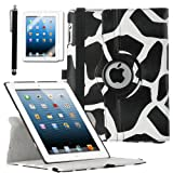 ULAK Premium Patterned PU Leather 360 Degree Rotating Smart Stand Case Cover for Apple iPad 2 iPad 3 iPad 4 New iPad with Screen Protector Stylus and Auto Wake/Sleep Function (Black Giraffe Skin)