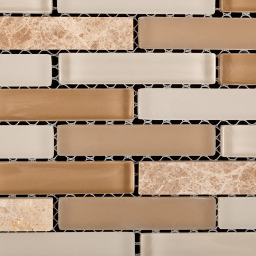 Newport balboa stone and glass mix brick mosaic tile 6 for Mixing brick and stone