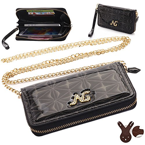 Boriyuan New Luxury Stylish Protective Zipper Lady Handbag Crossbody Style Carrying Holster With Cash/ Card Holder Slots And Metal Shoulder Strap And Hand Strap Wallet Leather Case Pouch For Mobile Phones Not Bigger Than 5.1 Inch And Other Portable Device