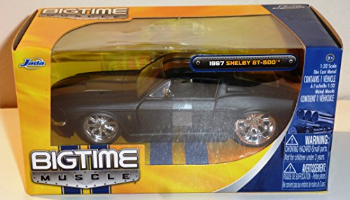 BIG TIME MUSCLE 1967 SHELBY GT-500 BLACK WITH GOLD STRIPES 1:32 Scale Premium Collectable Die-Cast Vehicle car