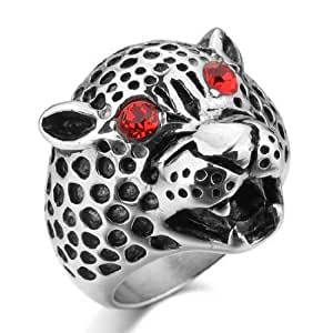 men's Stainless Steel Ring Band Silver Leopard Gothic Handmade Size7