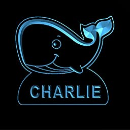 ws1037-0196-b CHARLIE Whale Night Light Nursery Baby Kids Name Day/ Night Sensor LED Sign