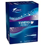 Tampax Pearl Plastic, Ultra Absorbency, Unscented Tampons, 36 Count (Pack of 2)