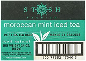 Stash Tea Moroccan Mint Green Tea, 1 Ounce Iced Tea Brew Bags (Pack of 24)