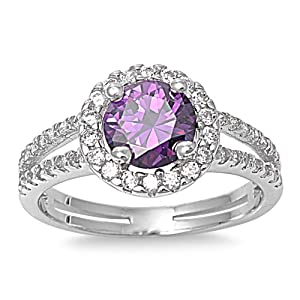 Sterling Silver Simulated Purple Amethyst Halo Ring - Size 9