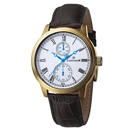 Thomas Earnshaw Cornwall Men's Quartz Watch with White Dial Analogue Display and Brown Leather Strap ES-8002-02