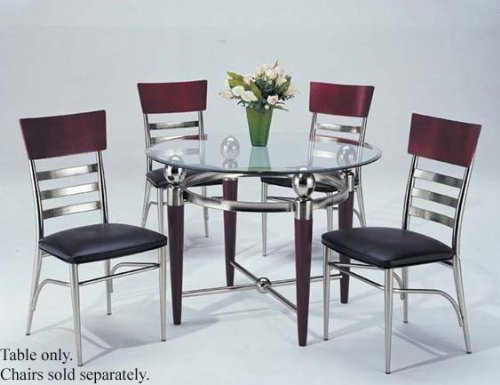 Cheap Round Dining Table with Glass Top Silver Cherry Finish (VF_AM7265)