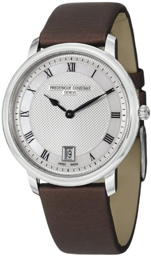 Frederique Constant Slim Line Mid-size Brown Satin Leather Strap Watch FC-220M4S36-2