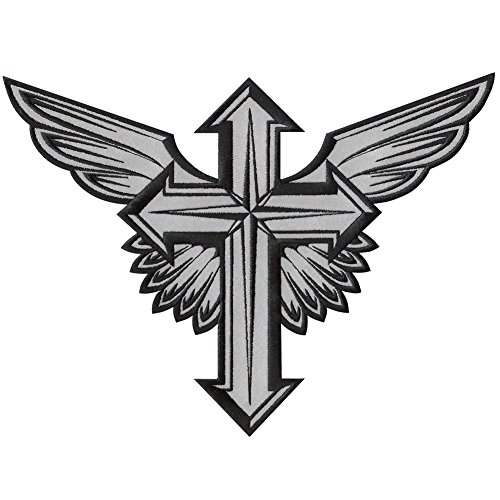 LARGE WINGED CROSS WINGS CHRISTIAN COLORS REFLECTIVE EMBROIDERED IRON-ON DECORATIVE PATCH 12""