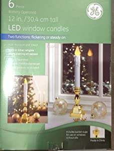 "6 Piece GE LED 12"" Window Candles: Two Function Steady On and Flickering - 2012 Version"