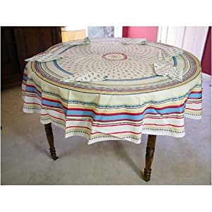Round Provence Colorful Print coated cotton tablecloth with napkins