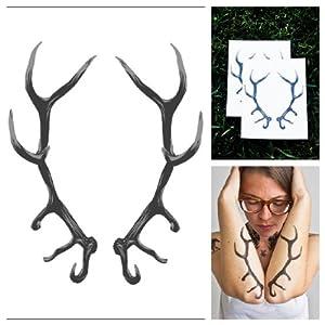 Amazon.com: Tattify Antlers Temporary Tattoo - Taxidermy (Set of 2