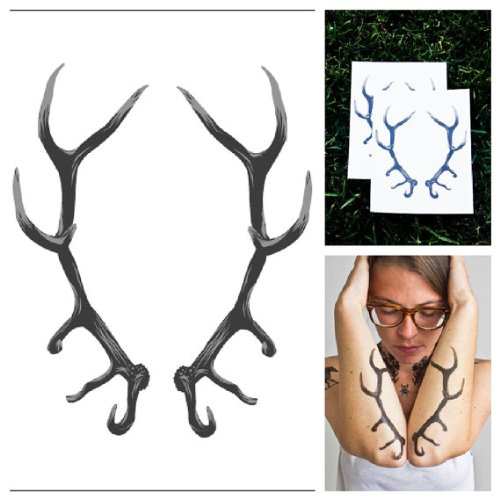 Tattify Antlers Temporary Tattoo - Taxidermy (Set of 2) - 1