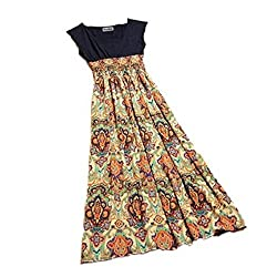 Bocideal Summer Flower Print Bohemia Style Sleeveless Vest Maxi Long Dress for Lady Womens
