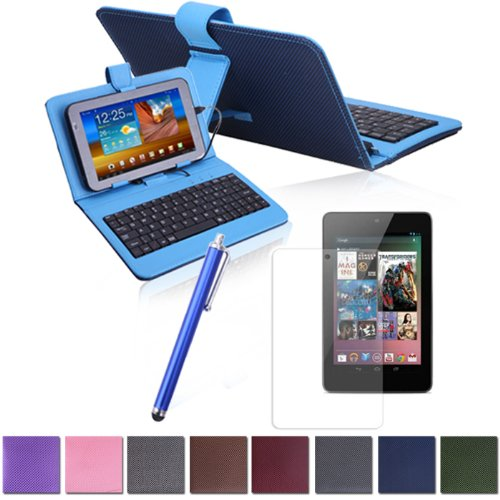 Hde Diamond Stitch Hard Cover Case With Keyboard For Google Nexus 7 W/ Matching Stylus & Screen Protector (Blue)
