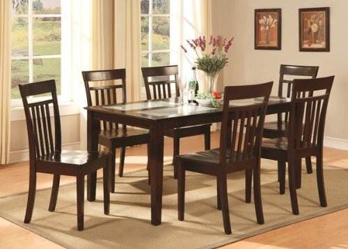 Cheap East West Furniture C7G-CAP-W Capri 7PC set with Tempered Frosted Glass Top Table and 6 wood seat chairs (C7G-CAP-W)