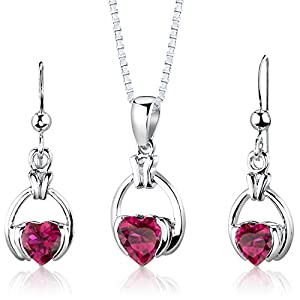 Sterling Silver Rhodium Nickel Finish Heart Shape Created Ruby Pendant Earrings and 18 inch Necklace Set
