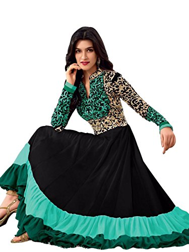 Clickedia Womens Faux Georgette Anarkali Dress Material (Sauve 2122 Black & Green _Black & Green _Free Size)