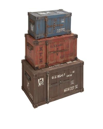 Set of 3 Wooden Trunks, Multi