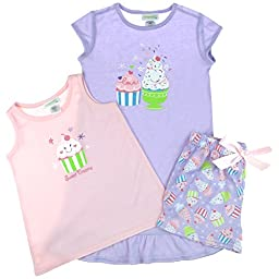 Capelli New York Little Girls Sweet Printed 3 Piece Set: Tank, Short & Sleepshirt Pastel Combo 2T