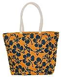 Neska Moda Swachh Bharat Women's Floral Yellow Dark Blue Jute Bag Shoulder Bag - Made In INDIA