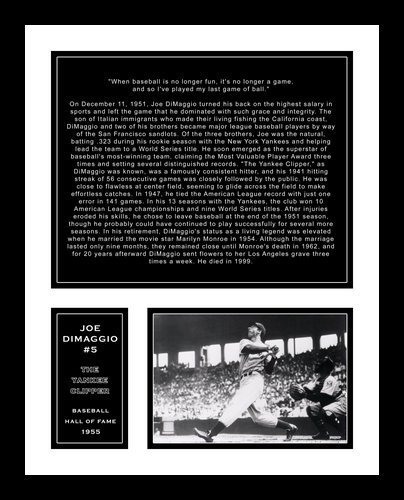 All About Autographs AAA-58006 Joe DiMaggio New York Yankees MLB Framed Photograph with Farewell Retirement Speech Quote at Yankee Stadium and Biography