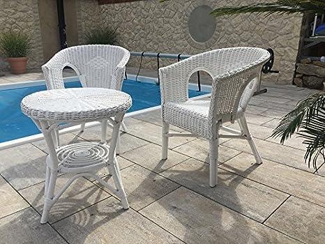 Rattan Set 2 Sessel NEU in der Farbe weiß + Tisch 50 cm