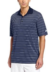 adidas Golf Men's Climalite Two-Color Stripe Polo Shirt, Navy/White, Small