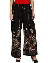 Saadgi Hand Block Print Pure Rayon Plazo Pants For Women/Girls - B06XFSZD9F