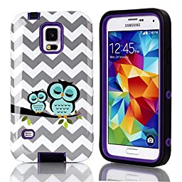 Galaxy S5 Case Cover,S5 Case,SAVYOU Wave Owl 3 in 1 High Impact TPU Silicone Soft + PC Hard Plastic Bumper Protective Cover Case for Samsung Galaxy S5 I9600(Purple)