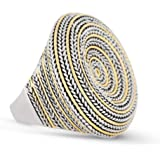 JanKuo Jewelry Curve Plus Size Two Tone Antique Style Cocktail Ring Ship in Gift Box