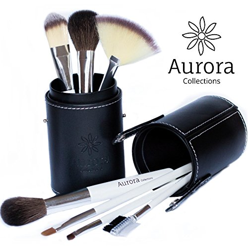 Makeup Brush Set with Case - Professional, Shed Proof Natural & Synthetic Brushes Ideal for Liquid Foundation & Contour Techniques + Travel Case, 8 Pc Kit - Make Up Like a Pro Now!