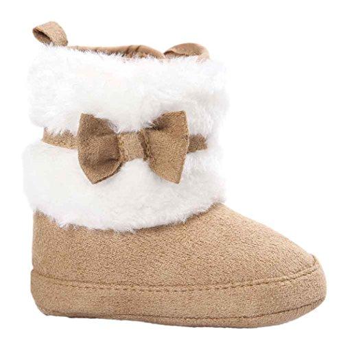 Kingko® Infantile Calze Scarpe bambino Bowknot tenere in caldo scarpe morbide Sole neve stivali morbidi greppia del bambino Stivali regalo di Natale (12~18 mesi, Cachi)