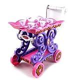 Pastel Princess Mobile Tea Cart Toy Tea Set W/ Tea Cart, 4 Cups, 4 Saucers, Tea & Sugar Pots, & Crea