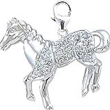 14K DIAMOND HORSE CHARM- WHITE GOLD