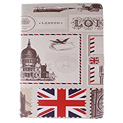 IKASEFU Colorful Case for iPad 6, Flip Case for iPad Air 2,Stand Case for iPad 6,Colorful Painting Dandelion UK Flag USA Flag Pattern Soft Inner PU Leather Book Style Flip Protective Carrying Case Cover with Stand Function fo