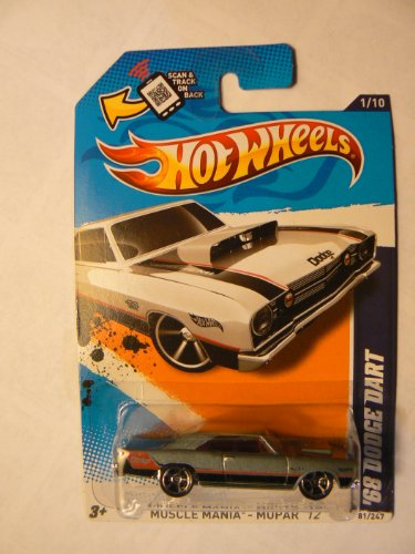"Hot Wheels Muscle Mania Mopar '12 1/10 ""68 Dodge Dart Silver on Scan and Track Card"