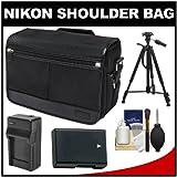Nikon DSLR Camera Tablet Messenger Shoulder Bag with EN-EL14 Battery & Charger + Tripod + Kit for Df - D3100 - D3200 - D3300 - D5100 - D5200 - D5300