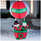 Over 6.5' Airblown Inflatable Snowman Couple Hot Air Balloon Lighted Christmas Yard Art Decoration