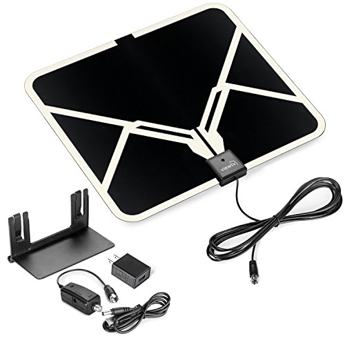 ViewTV Flat HD Digital Indoor Amplified TV Antenna - 65 Miles Range - Detachable Amplifier Signal Booster - Antenna Stand - 12ft Coax Cable - Black (Indoor Digital Tv Antenna compare prices)