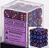 Chessex Dice d6 Sets: Gemini Blue & Purple with Gold - 12mm Six Sided Die (36) Block of Dice by Chessex