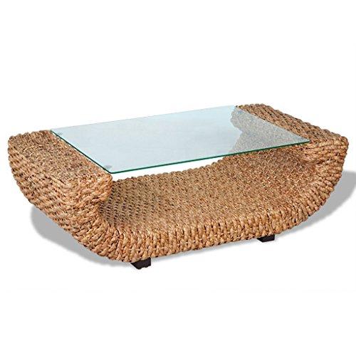 Anself-Ovaler-Kaffeetisch-Beistelltische-aus-Wasserhyazinthe-mit-Glasplatte-und-Holzfen-Kunststoff-Fen