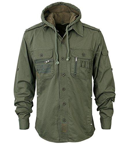 ililily Men Military Vintage Hood Slim Fit Tactical Roll Up Shirt Jacket 0