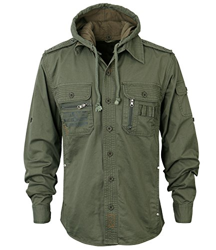 ililily Men Military Vintage Hood Slim Fit Tactical Roll Up Shirt Jacket 0