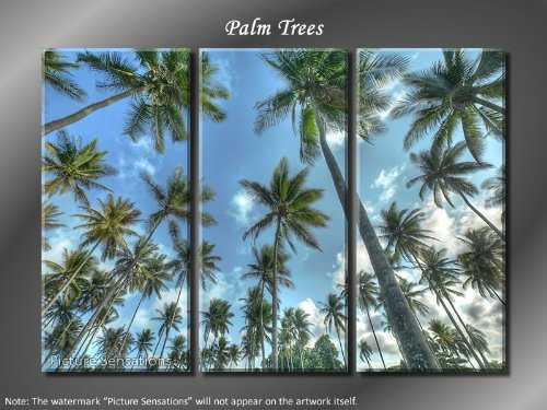 Framed Huge 3 Panel Modern Art Tropical Palm Trees Giclee Canvas Print