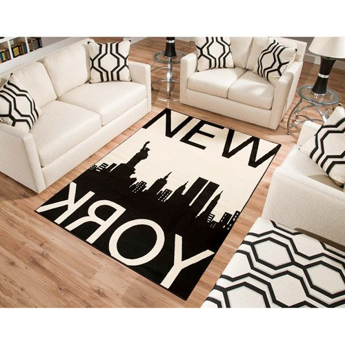 New York Rectangle Area Rug Black/White medium-thick yarns jute backing